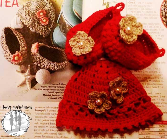 cuffietta e scarpette in lana merinos e perle